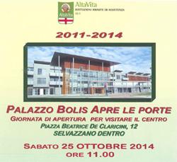 Palazzo Bolis Apre le Porte sabato 25 ottobre 2014