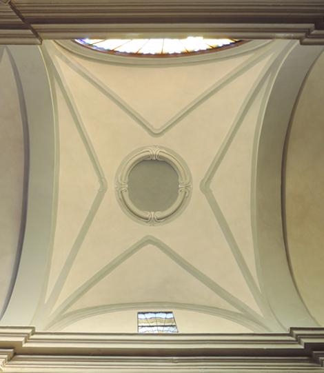 Dettaglio del soffitto restaurato - Chiesa di S. Sebastiano Martire di Crocetta