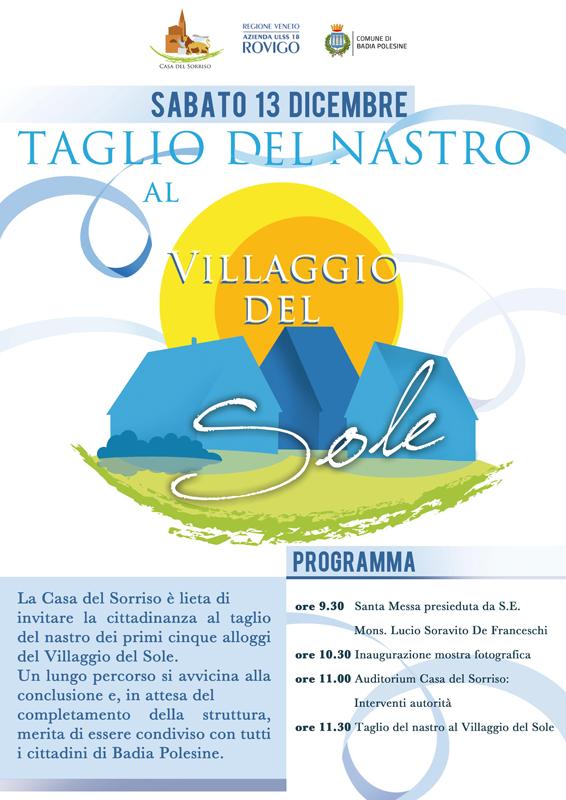 Locandina Taglio del Nastro al Villaggio del Sole di Badia Polesine (RO)